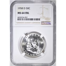 1958-D FRANKLIN HALF DOLLAR  NGC MS-64 FBL