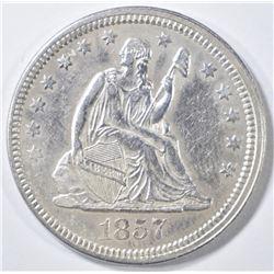 1857 SEATED LIBERTY QUARTER   CH AU