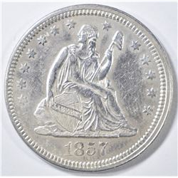 1857 SEATED LIBERTY QUARTER   CH AU