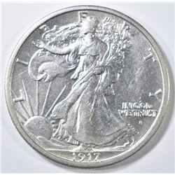 1917-S OBV. WALKING LIBERTY HALF DOLLAR  AU/BU