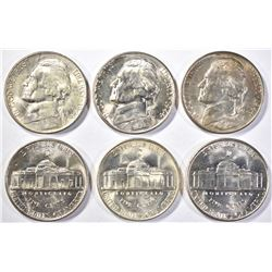 6-GEM BU 1944-D JEFFERSON SILVER NICKELS