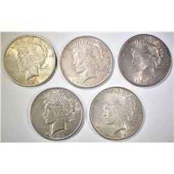 5-1922-P PEACE DOLLARS, CIRC