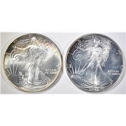 1990 & 1995 BU AMERICAN SILVER EAGLES