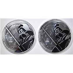 2-2018 NIUE ONE Oz SILVER DARTH VADER COINS
