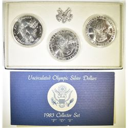 1983 OLYMPIC P-D-S UNC SILVER DOLLAR SET