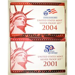 2001 & 2004 U.S. SILVER PROOF SETS IN ORIG BOX/COA