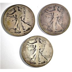 3-1918-S WALKING LIBERTY HALF DOLLARS: