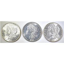 1881-S, 87 & 1921-D MORGAN DOLLARS BU