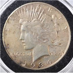 1934-S PEACE DOLLAR, VF