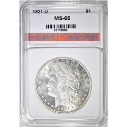 1921-D MORGAN DOLLAR, APG GEM BU