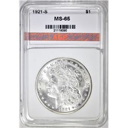 1921-S MORGAN DOLLAR, APG GEM BU