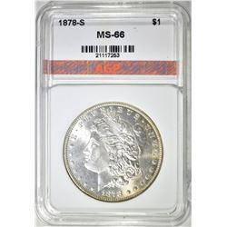 1878-S MORGAN DOLLAR, AGP SUPERB GEM