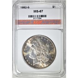 1882-S MORGAN DOLLAR, AGP SUPERB GEM