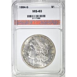 1884-S MORGAN DOLLAR, AGP CH BU