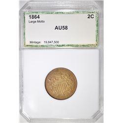 1864 LG MOTTO 2-CENT PIECE, PCI AU/BU