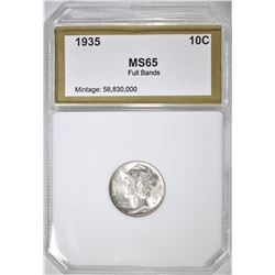 1935 MERCURY DIME, PCI GEM BU FB