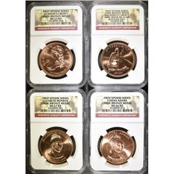 NGC GRADED 2008 FIRST SPOUSE BRONZE MEDAL SET