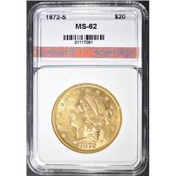 1872-S $20 GOLD LIBERTY, AGP BU
