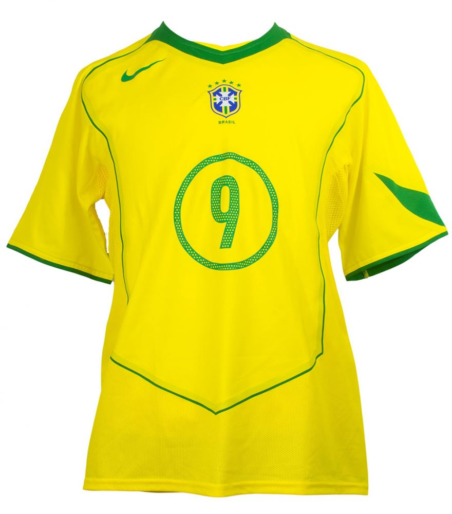 buy popular 27713 ad7ef Ronaldo Game Worn Brazil Nike Jersey