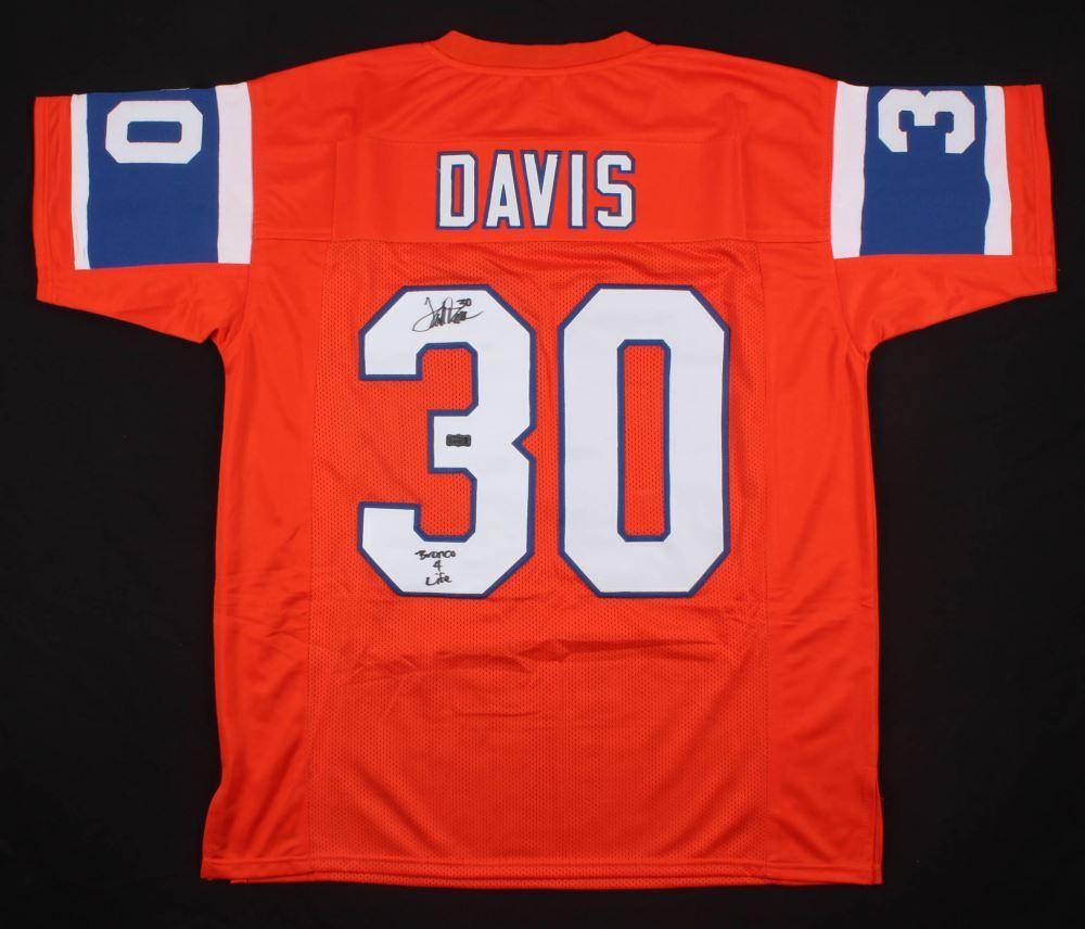 super popular bd2b3 2ade0 Terrell Davis Signed Denver Broncos Jersey Inscribed ...