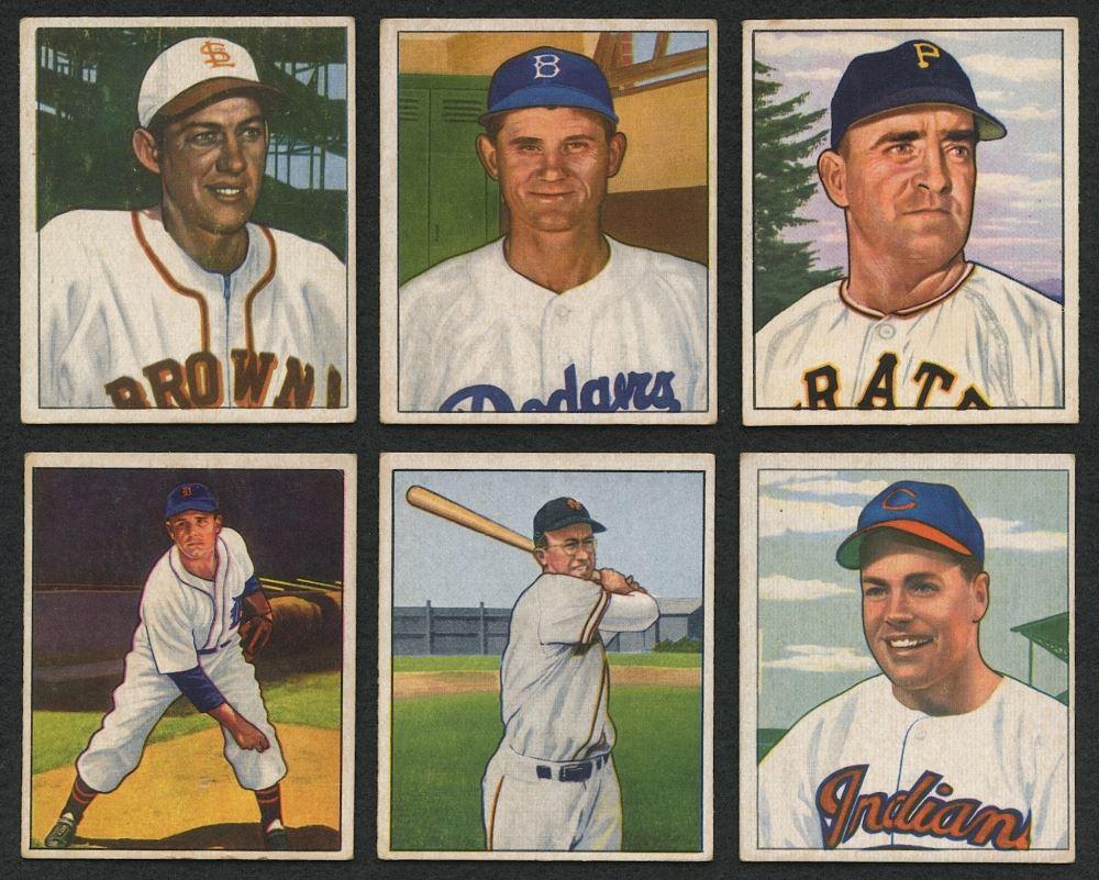 Lot Of 6 1950 Bowman Baseball Cards With 96 Virgil Trucks 117