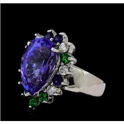 10.69 ctw Tanzanite, Tsavorite, Blue Sapphire, and Diamond Ring - 14KT White Gol