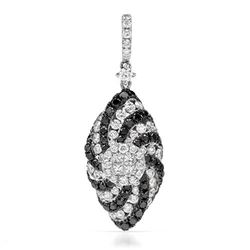 18k White Gold 1.55CTW Diamondand Black Diamonds Pendant, (VS1-VS2/G)