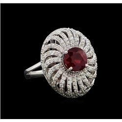 14KT White Gold 2.73 ctw Ruby and Diamond Ring