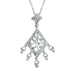 14k White Gold 0.50CTW Diamond Pendant, (I2-I3/H-I)