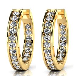 14K Yellow Gold 0.75CTW Diamond Earrings, (VS/F-G)