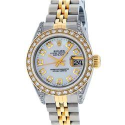 Rolex Ladies 2 Tone 14K MOP Diamond Lugs Datejust Wristwatch
