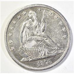1876-CC SEATED HALF DOLLAR, AU/BU