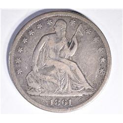 1861-S SEATED HALF DOLLAR, XF