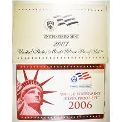 2006 & 07 U.S. SILVER PROOF SETS  ORIG BOXES/COA