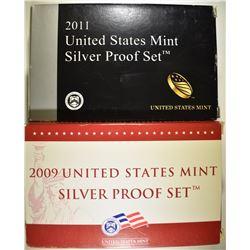 2009 & 2011 U.S. SILVER Pf SETS IN ORIG BOXES/COA