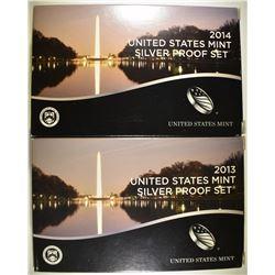 2013 & 14 U.S. SILVER PROOF SETS IN ORIG PACKAGING