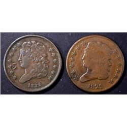 1829 VG & 1832 VF/XF with a few marks HALF CENTS