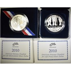 2010 PROOF & UNC DISABLED VETERAN FOR LIFE