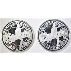 "2-""SOCCER: ONE OUNCE .999 SILVER ROUNDS"