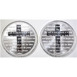 2-LORD'S PRAYER ONE OUNCE .999 SILVER ROUNDS