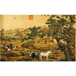 Lang Shining 1688-1766 Chinese Print Horse Scroll