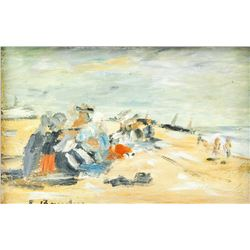 Eugene Boudin French Impressionist Oil on Canvas