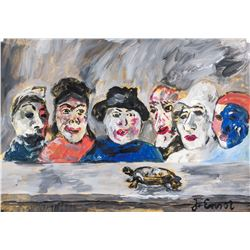 James Ensor Belgian Modernist Gouache on Paper