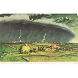 "John Steuart Curry Lithograph Paper ""Line Storm"""
