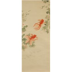 Chinese Watercolor on Paper Scroll Stamped