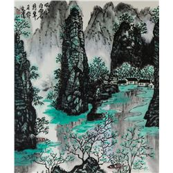 Wen Qing XX Chinese Watercolor Scroll