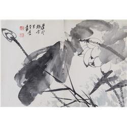 Zhang Daqian 1899-1983 Chinese Watercolor Lotus