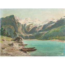 Oil on Board Landscape Scene E. Plunder