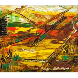 Ennio Morlotti Italian Modernist Oil on Canvas