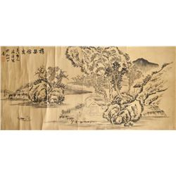 Qing Xi Chinese Ink on Paper Scroll Landscape